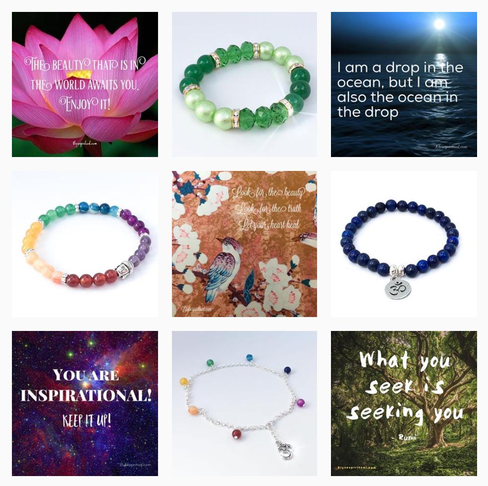 Utfrag fra Instagram-profilen til Elyse Spiritual Jewellery